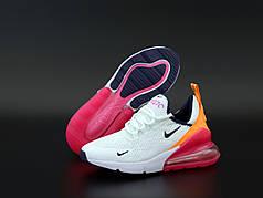 Женские кроссовки Nike Air Max 270. White Red Orange.. ТОП Реплика ААА класса.