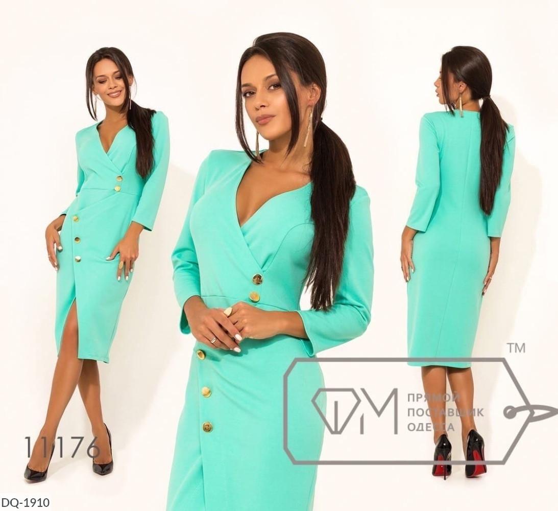 Женское стильное платье большого размера, декор - пуговицы. Ткань: креп-дайвинг. Размер: 48, 50, 52, 54.