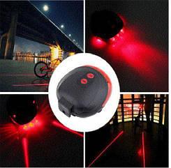 Підсідельна діодна мигалка / задній ліхтар з підсвічуванням 5 LED і лазерної доріжкою (ЧЕРВОНІ ДІОДИ)