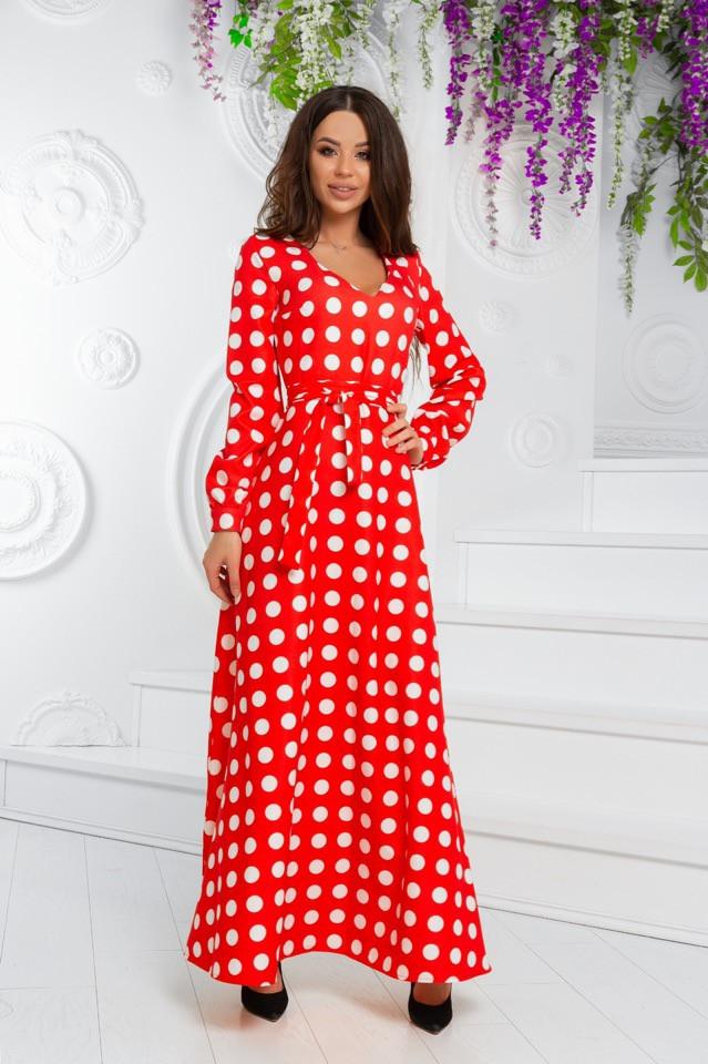 Платье макси с длинным рукавом в горошек. Р-р.44,46,48, Код 693В