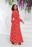 Платье макси с длинным рукавом в горошек. Р-р.44,46,48, Код 693В, фото 2