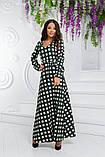 Платье макси с длинным рукавом в горошек. Р-р.44,46,48, Код 693В, фото 3
