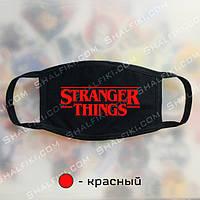 """""""Stranger Things / Очень странные дела"""" черная защитная маска с принтом - красный"""