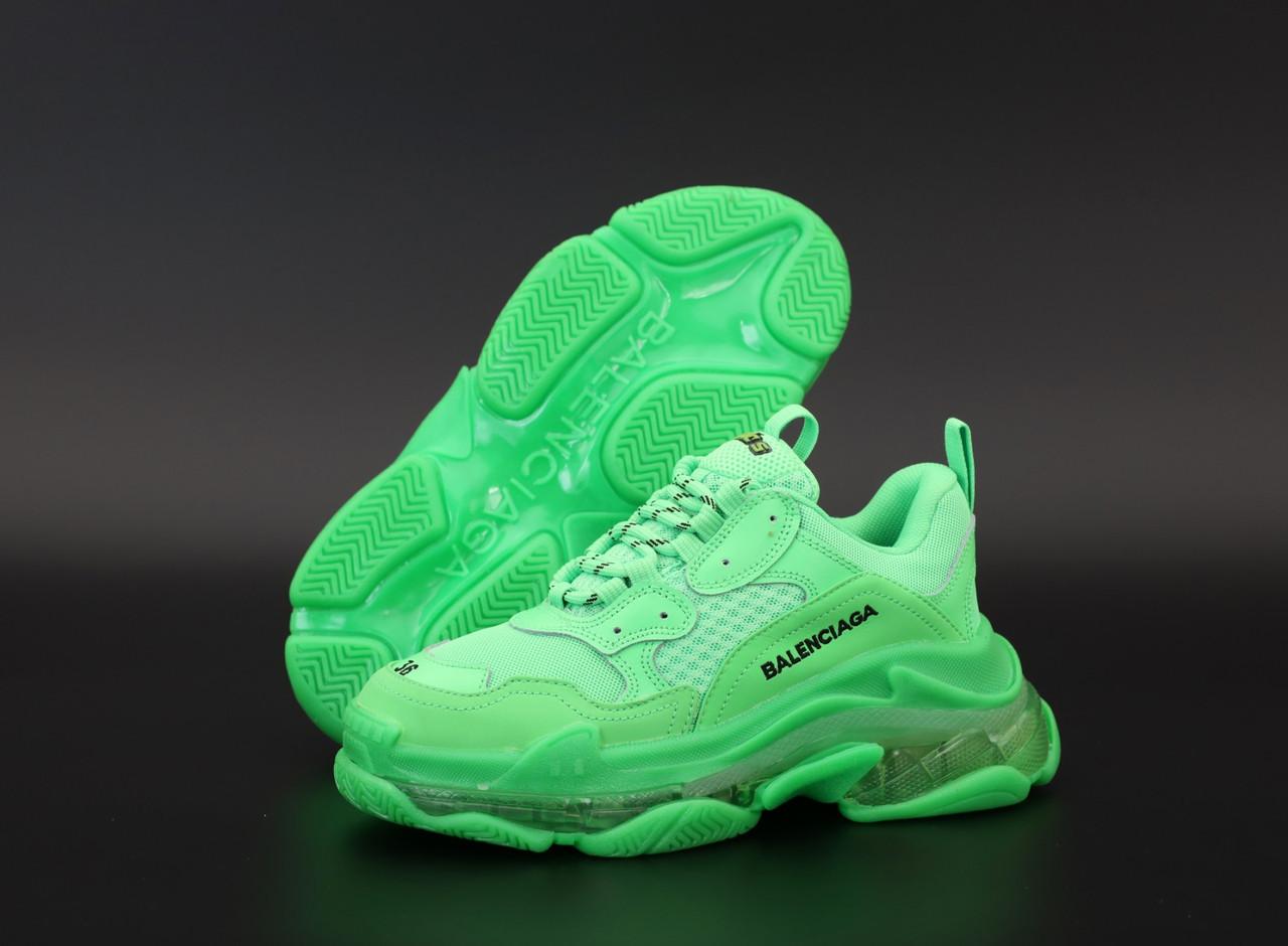 Женские кроссовки Balenciaga Triple S Green. ТОП Реплика ААА класса.