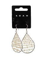 """Сережки """"Перли"""" Koan 4,5 см Срібло, Білий"""