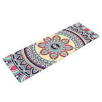 Коврик для йоги Замшевый каучуковый двухслойный 3мм Record (размер 1,83мx0,61мx3мм, бежевый, с цветочным