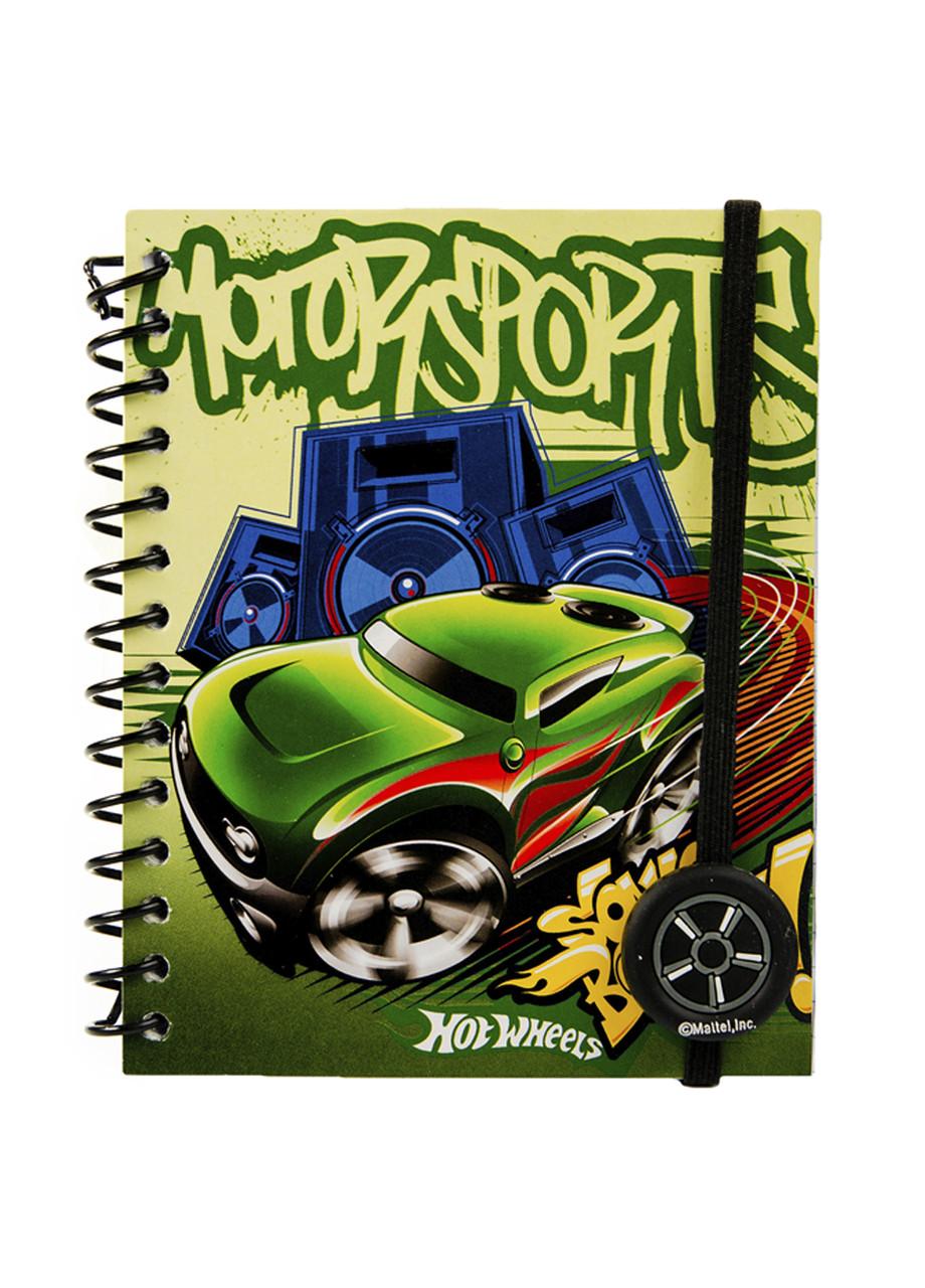 """Блокнот на гумці """"Hot Wheels"""" В7 Hot Wheels 12,5х10см Зелений, Синій, Жовтий"""