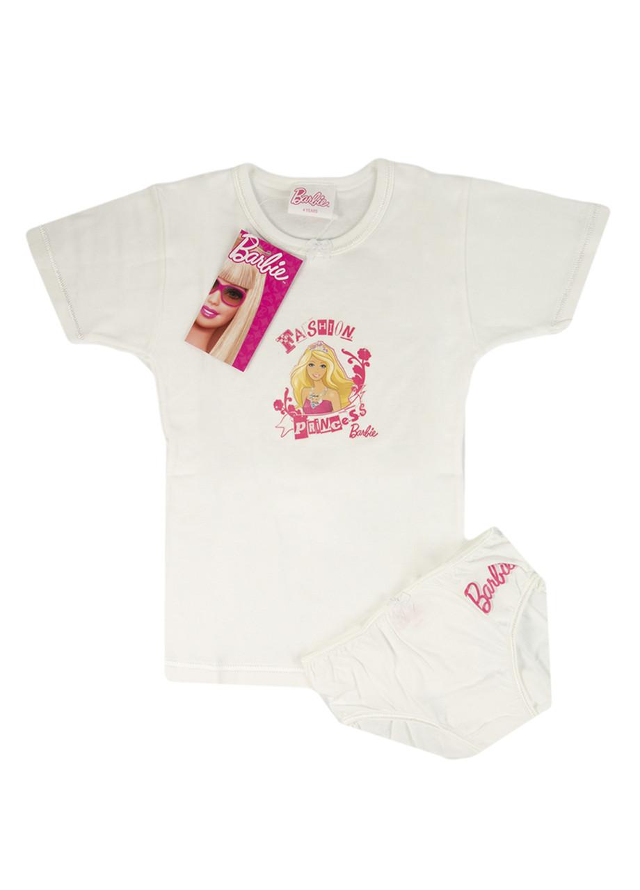 Комплект футболка з трусами Barbie 110см Білий