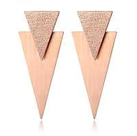 Серьги массивные позолоченные «Треугольники», фото 1