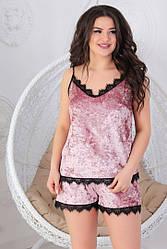 Женская велюровая пижама. Женская велюровая пижама с кружевом. Пижама мака+шорты декор кружево