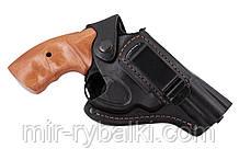 Кобура поясная Револьвер 3 формованная с клипсой (кожа, чёрная)