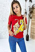 Удобная футболка с ярким принтом Симба и Нала TITUS - красный цвет, M (есть размеры), фото 1