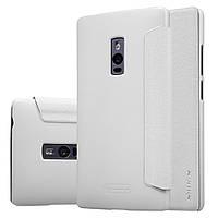 Кожаный чехол книжка Nillkin Sparkle для OnePlus 2 белый