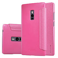 Кожаный чехол книжка Nillkin Sparkle для OnePlus 2 розовый