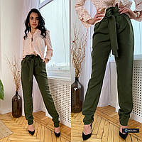 Женские брюки из костюмной ткани с поясом, фото 1