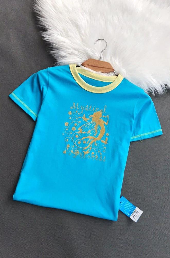 Футболка детская девочка голубая размер 122 7343