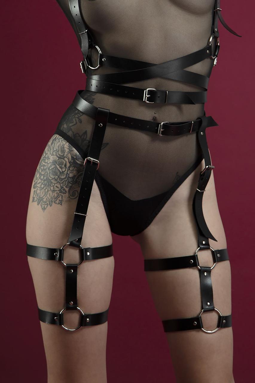 Гартери Feral Feelings - Garter, натуральна шкіра, колір чорний     18+