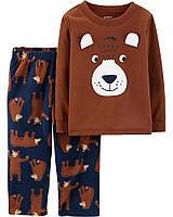 Детская пижамка - хлопковый топ и флисовые штанишки с медвежонками Картерс для мальчика