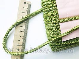 Шнур декоративный текстильный с люрексом золото  5-6 мм.  Шнур декоративний Салатовий темний