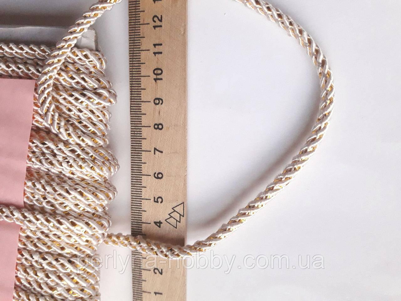 Шнур декоративный текстильный с люрексом золото  5-6 мм.  Шнур декоративний  Білий