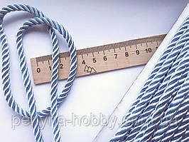 Шнур декоративный текстильный витой 5-6 мм. Голубий світлий. Туреччина