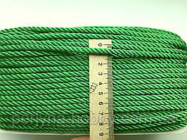 Шнур декоративный текстильный витой 5-6 мм. Голубий світлий. Зелений яскравий