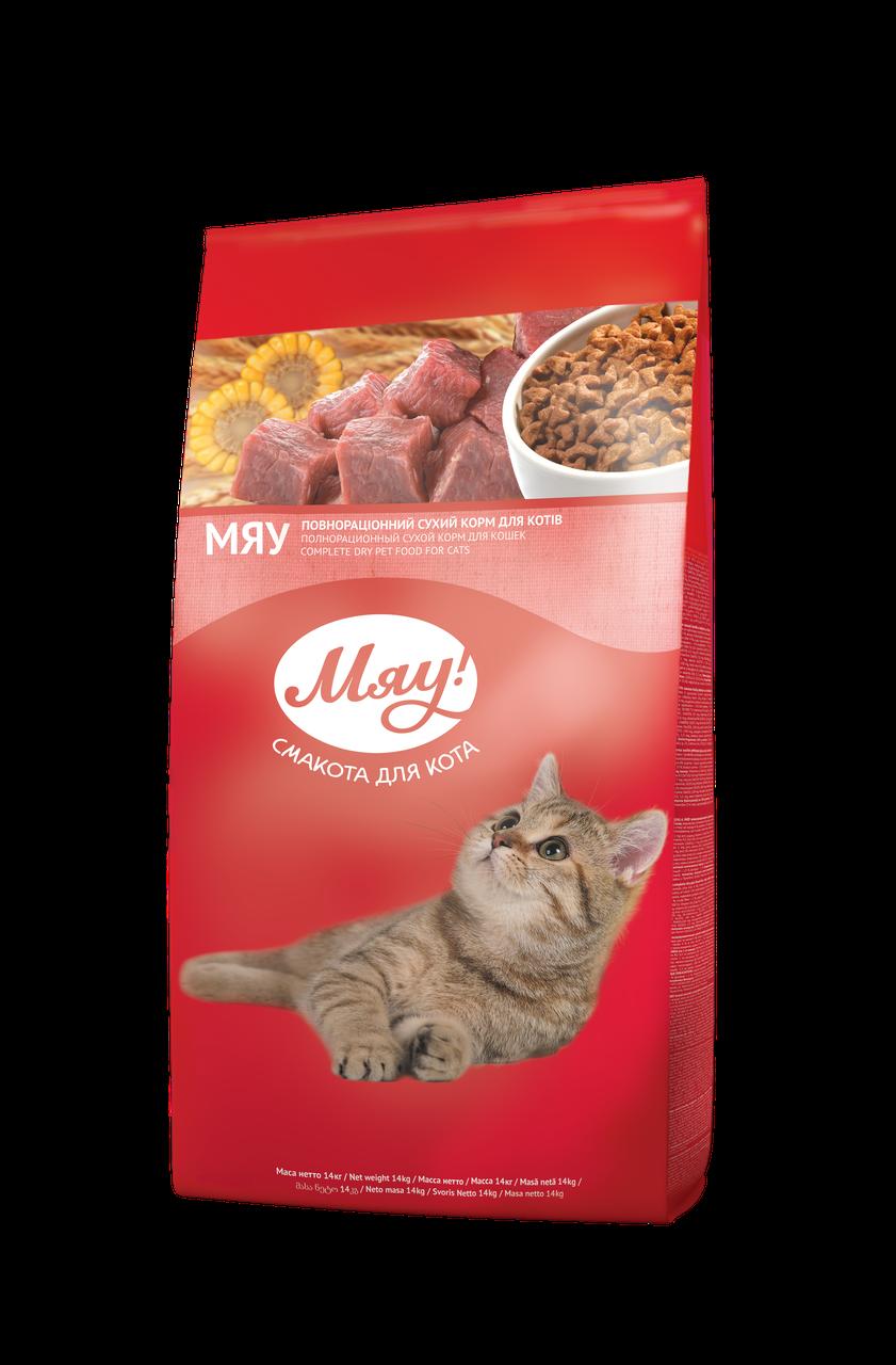 Сухой корм с Телятиной для взрослых кошек 14 кг Мяу