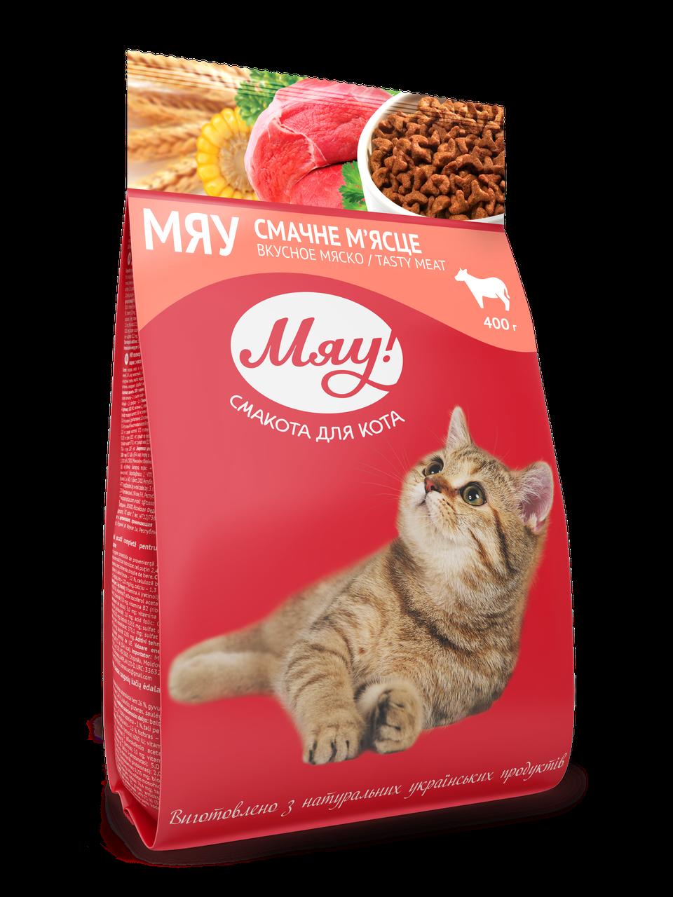 Сухой корм с Мясом для взрослых кошек 400 г Мяу