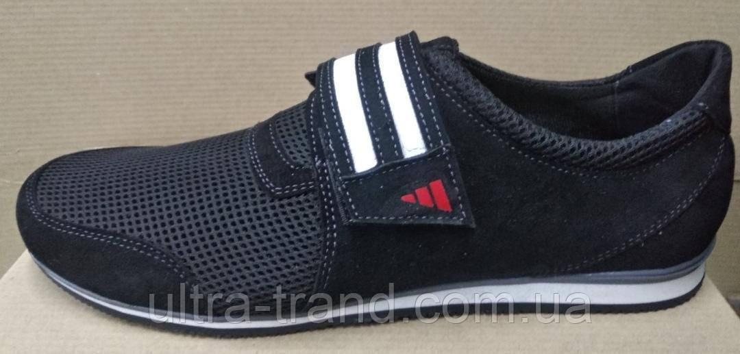 Летние мужские кроссовки сетка большого размера на липучке Adidas 46 47 48