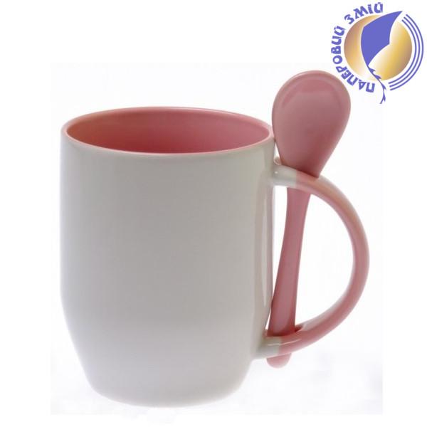 Кружка керамическая для сублимации, с ложкой, розовая
