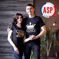 Футболки парные king queen с коронами надписями печать на футболках на заказ золото серебро