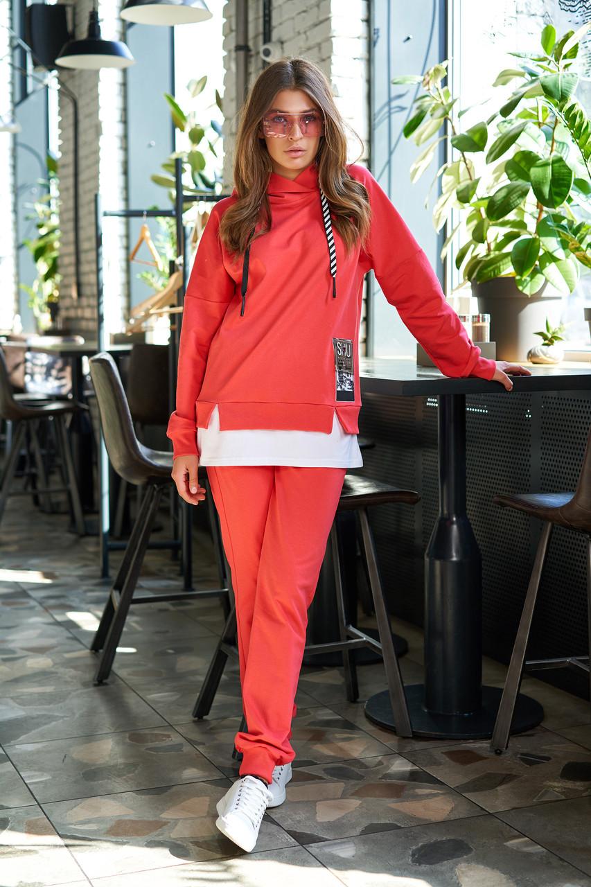 Женский прогулочный брючный костюм красный трикотаж двунитка спортивный молодёжный