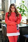Женский прогулочный брючный костюм красный трикотаж двунитка спортивный молодёжный, фото 2