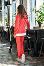 Женский прогулочный брючный костюм красный трикотаж двунитка спортивный молодёжный, фото 3