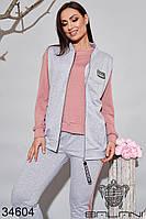 Женский спортивный костюм тройка серый/розовый 48-50,52-54, фото 1