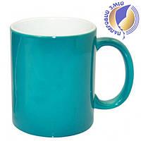 Цветная кружка хамелеон для сублимации Colour Changing Mug, бирюзовая