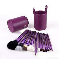 Набор кистей для макияжа 12шт Тубус Фиолетовый