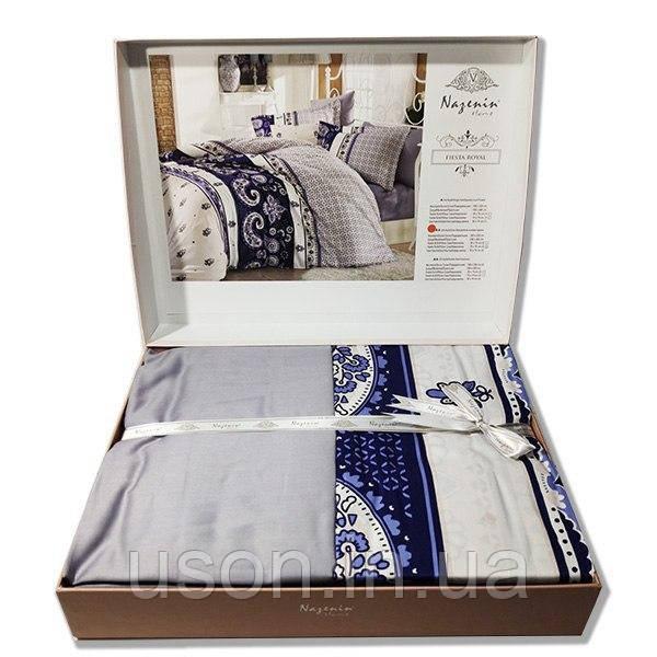 Комплект постельного белья  Nazenin сатин  евро размер Fiesta royal