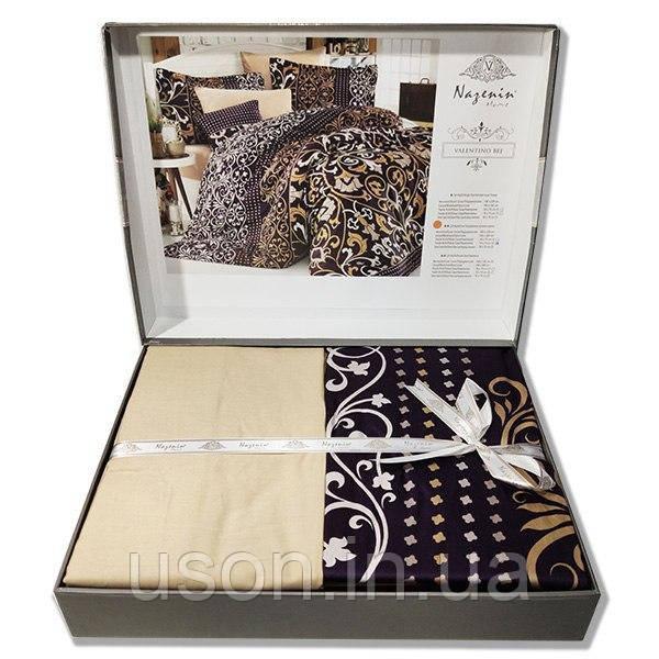 Комплект постельного белья  Nazenin сатин  евро размер Valentino bej