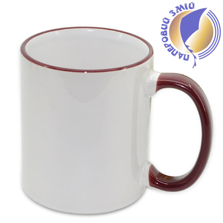 Кружка с цветной ручкой и каймой, бордовая, Two Tone Mug