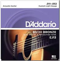 D`ADDARIO EJ13 80/20 BRONZE CUSTOM LIGHT 11-52 Струны для 6-струнной акустической гитары