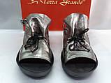 Стильные кожаные босоножки металик Terra Grande, фото 7