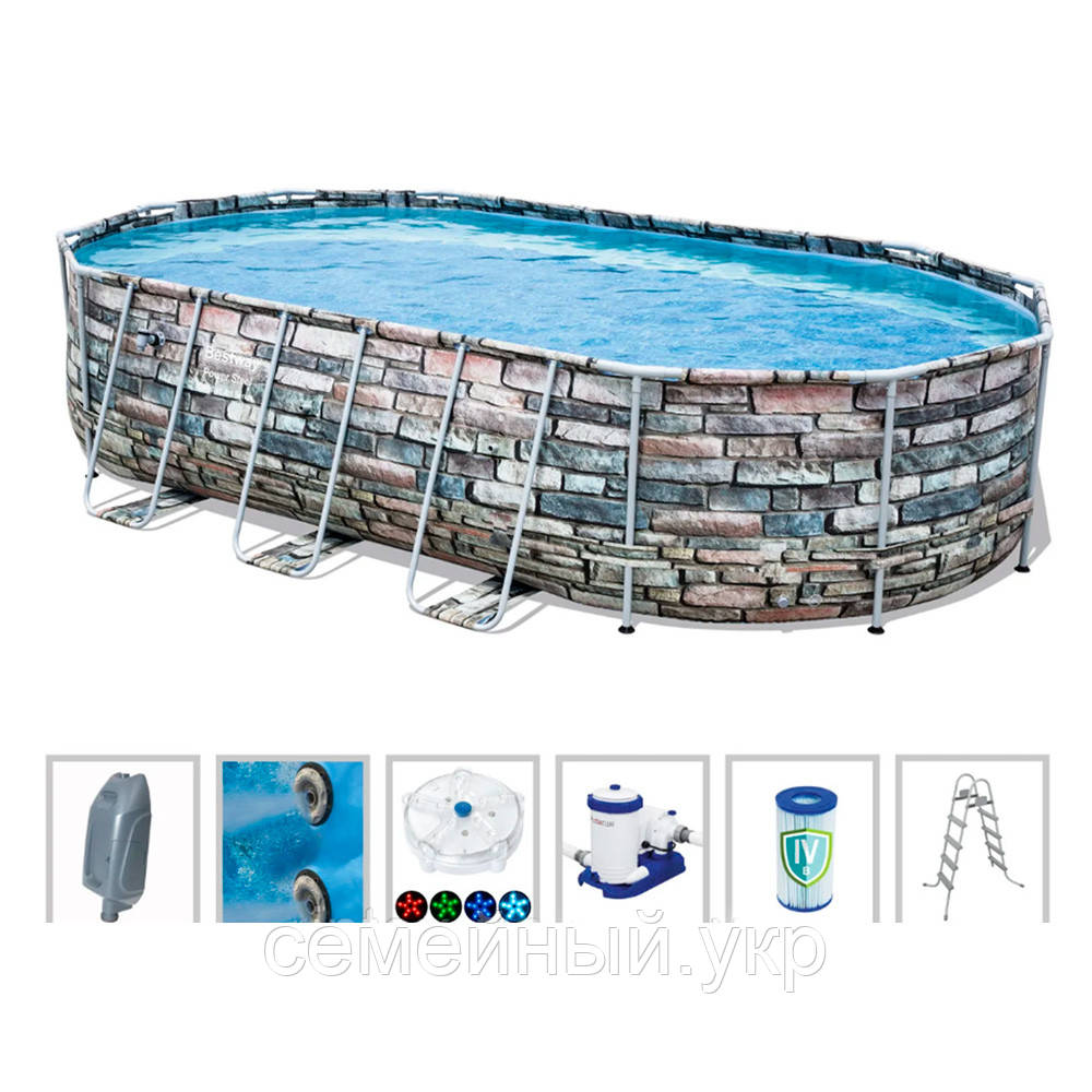 Овальный каркасный бассейн  Bestway. Размер: 610х366х122 см. Вес: 120 кг. Насос-фильтр. Оцинкованные трубы