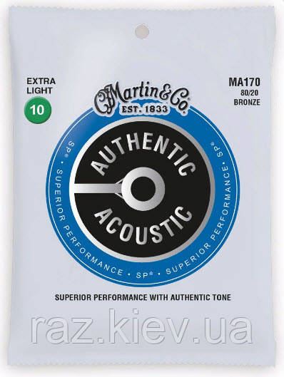 MARTIN MA170 Authentic Acoustic SP 80/20 Bronze Extra Light (10-47) Струны для акустической гитары 6шт