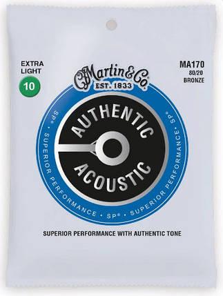 MARTIN MA170 Authentic Acoustic SP 80/20 Bronze Extra Light (10-47) Струны для акустической гитары 6шт, фото 2