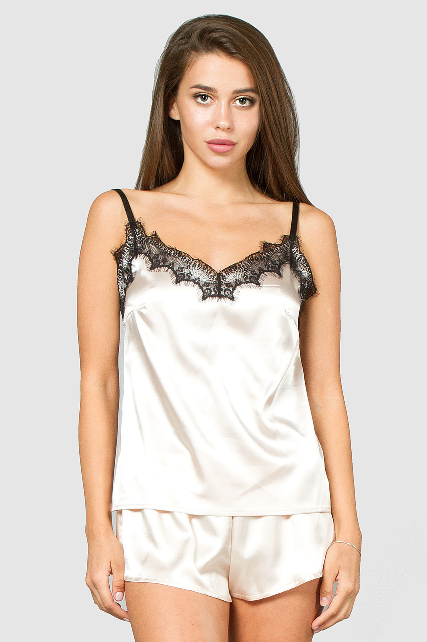 Шелковая женская пижама нюдовая с кружевом 42, 44, 46