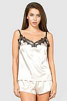 Шелковая женская пижама нюдовая с кружевом 42, 44, 46, фото 1