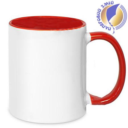 Кружка двухцветная с цветной ручкой, красная, MUG2T-I