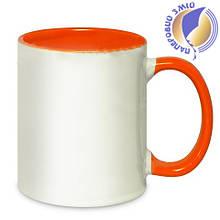 Кружка двухцветная с цветной ручкой, оранжевая, MUG2T-I