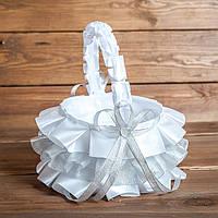 Свадебная корзинка для лепестков серебристая (арт. BP-015)